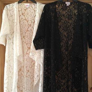 LuLaRoe Shirley Kimono Black Lace/White Lace